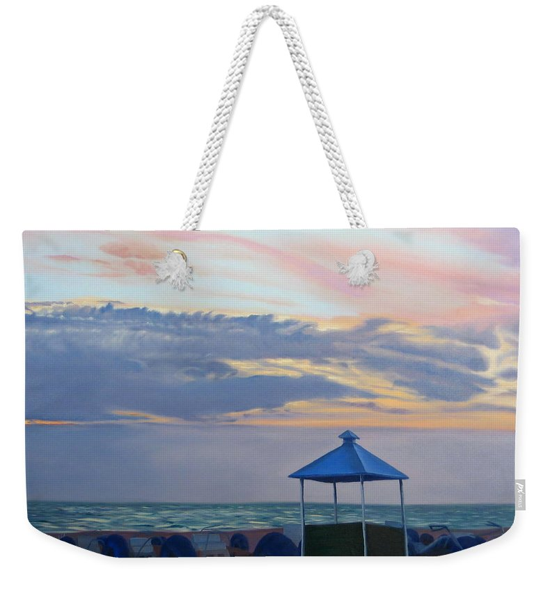Sunset Weekender Tote Bag featuring the painting Day Is Done by Lea Novak