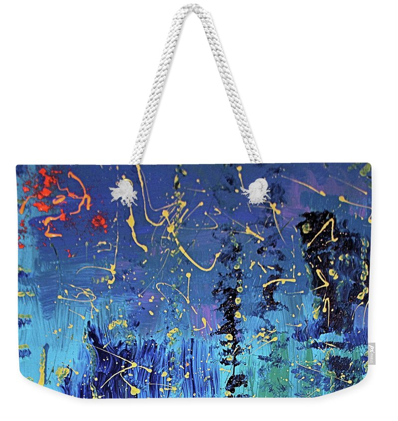 Blue Weekender Tote Bag featuring the painting Day Light Saving Time by Pam Roth O'Mara
