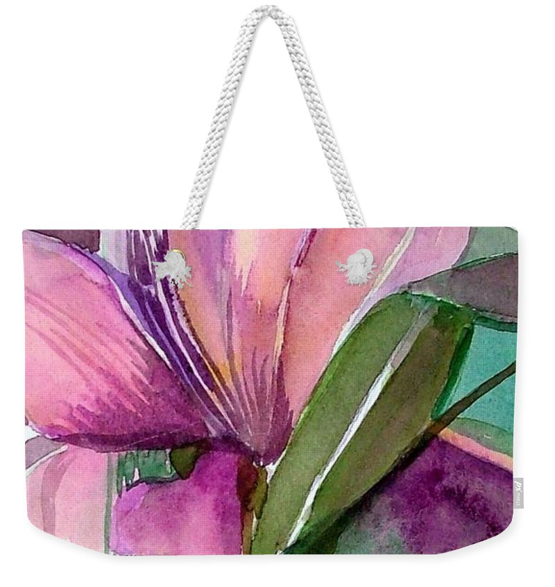 Flower Weekender Tote Bag featuring the painting Day Lily Pink by Mindy Newman