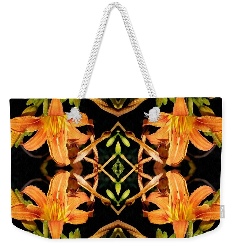 Lily Weekender Tote Bag featuring the photograph Day Lily Square Dance by Sarah Loft