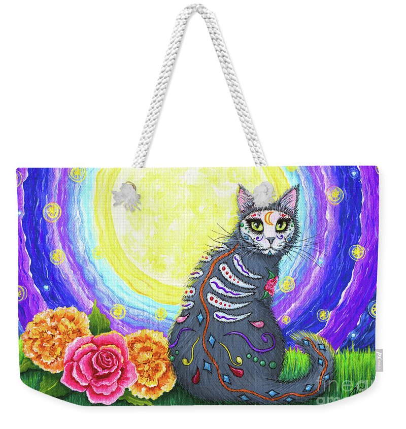 Dia De Los Muertos Gato Weekender Tote Bag featuring the painting Day Of The Dead Cat Moon - Dia De Los Muertos Gato by Carrie Hawks
