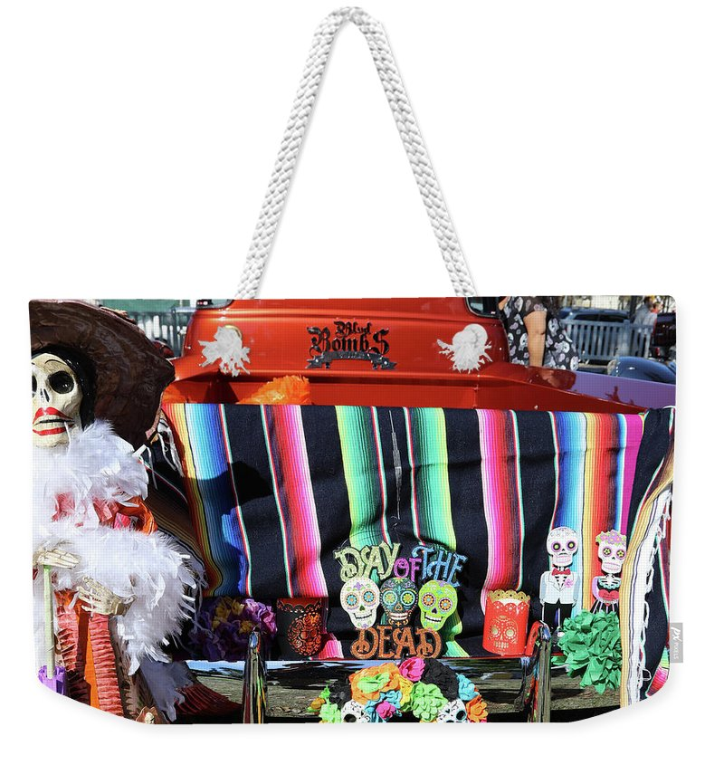 Dia De Los Muertos Weekender Tote Bag featuring the photograph Day Of The Dead Truck Decorations by Chuck Kuhn
