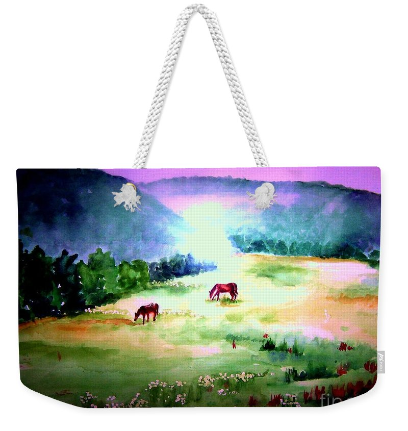 Early Morning Weekender Tote Bag featuring the painting Daybreak And Clover by Sandy Ryan