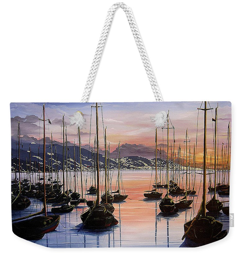 Seascape Painting Yacht Painting Harbour Painting Port Of Spain Trinidad And Tobago Painting Caribbean Painting Tropical Seascape Yachts  Painting Boats Dawn Breaking Greeting Card Painting Weekender Tote Bag featuring the painting Daybreak by Karin Dawn Kelshall- Best