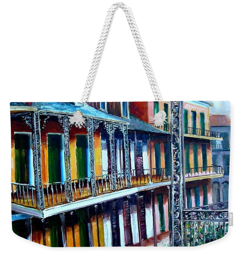 New Orleans Weekender Tote Bag featuring the painting Daybreak On St. Ann Street by Diane Millsap