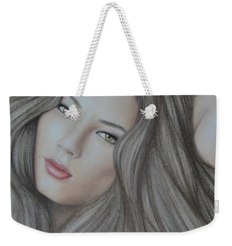 Woman Weekender Tote Bag featuring the painting Daydreaming by Lynet McDonald