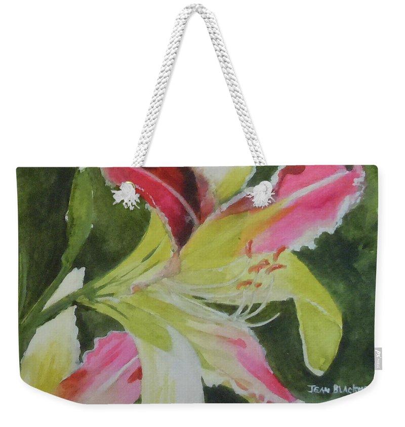 Daylily Weekender Tote Bag featuring the painting Daylily Study 1 by Jean Blackmer