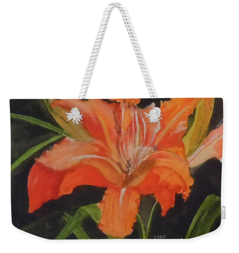 Orange Weekender Tote Bag featuring the painting Daylily Study IIi by Jean Blackmer