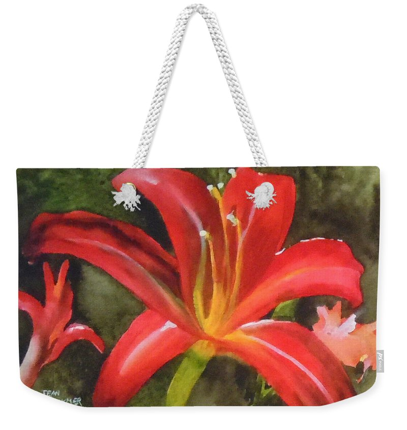 Red Weekender Tote Bag featuring the painting Daylily Study IV by Jean Blackmer