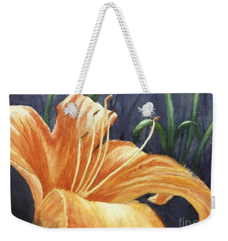 Flower Weekender Tote Bag featuring the painting Daylily by Todd Blanchard