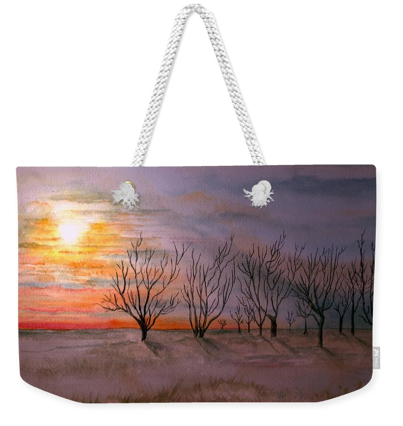 Watercolor Landscape Sundown Sunset Sky Trees Scenic Scenery Nature Clouds Weekender Tote Bag featuring the painting Day's End by Brenda Owen