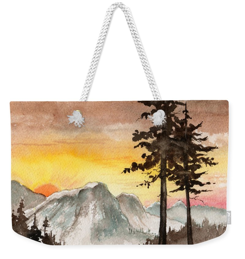 Landscape Weekender Tote Bag featuring the painting Day's Passing by Brenda Owen