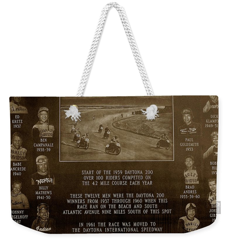 Dayton 200 Bike Race Weekender Tote Bag featuring the photograph Daytona 200 Plaque by David Lee Thompson