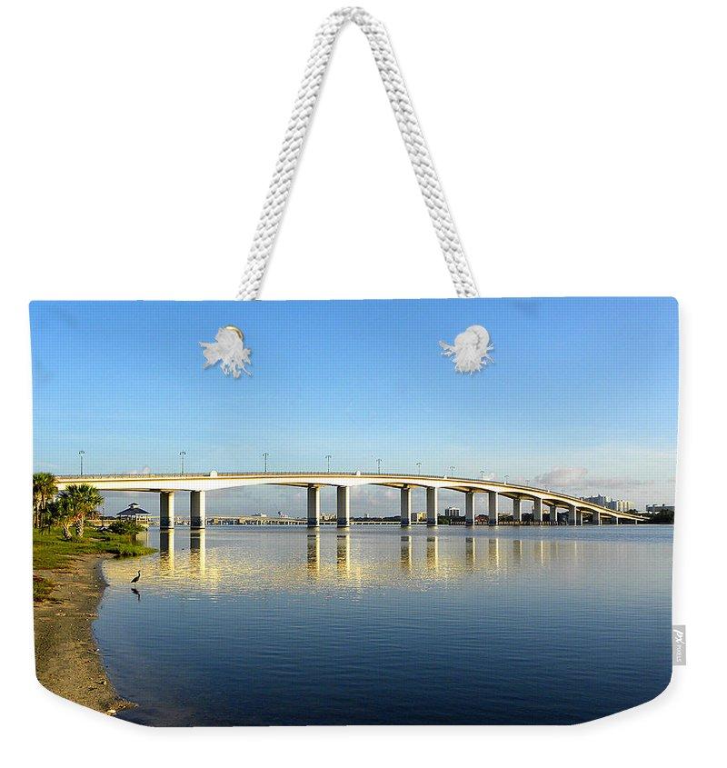 Daytona Weekender Tote Bag featuring the photograph Daytona Beach's Broadway Bridge by Chris Mercer