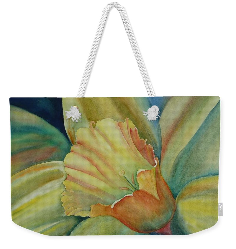Flower Weekender Tote Bag featuring the painting Dazzling Daffodil by Ruth Kamenev
