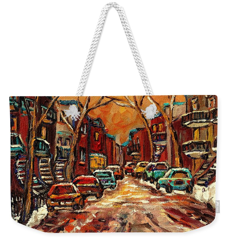 Montreal Weekender Tote Bag featuring the painting De Bullion Street Montreal by Carole Spandau