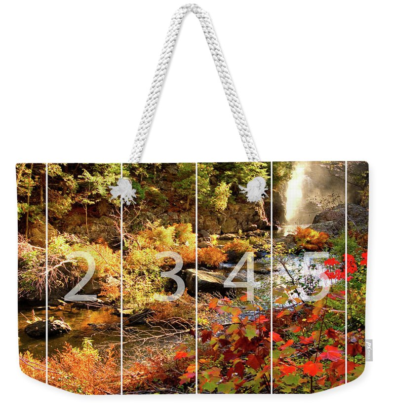Dead River Falls Weekender Tote Bag featuring the mixed media Dead River Falls Marquette Michigan Panoramic Map by Michael Bessler