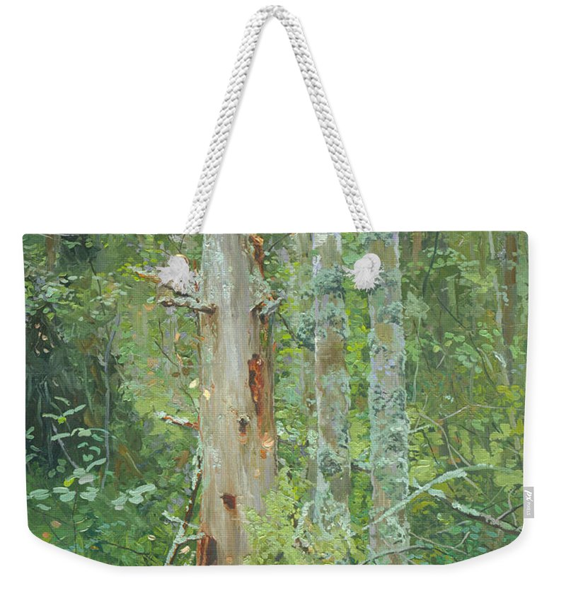 Old Tree Weekender Tote Bag featuring the painting Dead Tree by Simon Kozhin