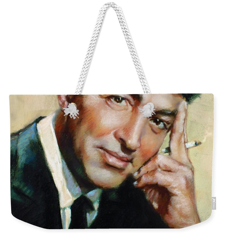 Dean Martin Weekender Tote Bag featuring the pastel Dean Martin by Ylli Haruni
