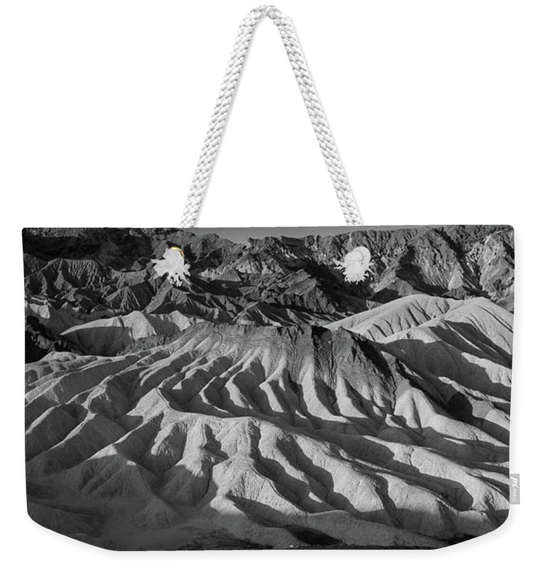 Death Valley Weekender Tote Bag featuring the photograph Death Valley Erosion B W by Steve Gadomski