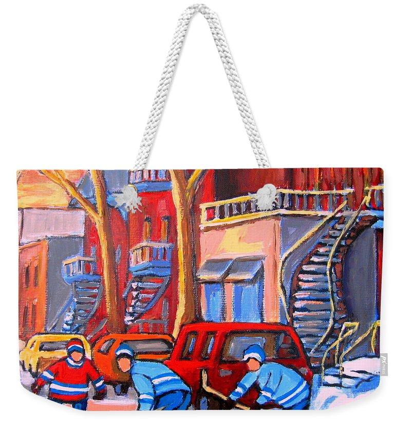 Debullion Street Hockey Stars Weekender Tote Bag featuring the painting Debullion Street Hockey Stars by Carole Spandau