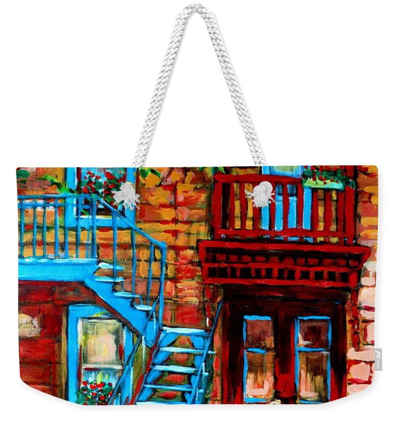 Montreal Streetscenes Weekender Tote Bag featuring the painting Debullion Street Neighbors by Carole Spandau