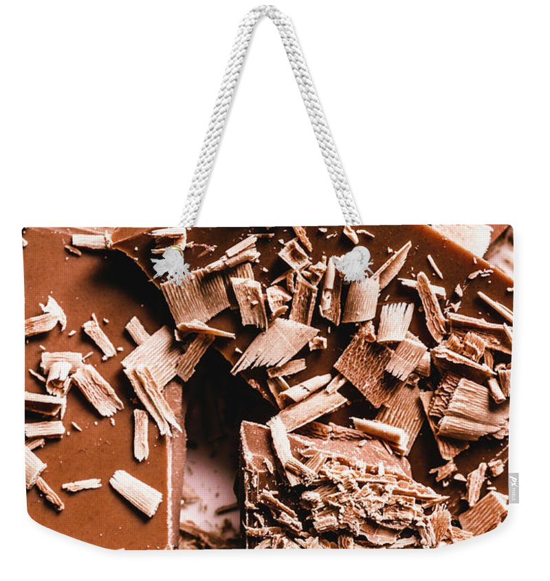 Baking Weekender Tote Bag featuring the photograph Decadent Chocolate Background Texture by Jorgo Photography - Wall Art Gallery