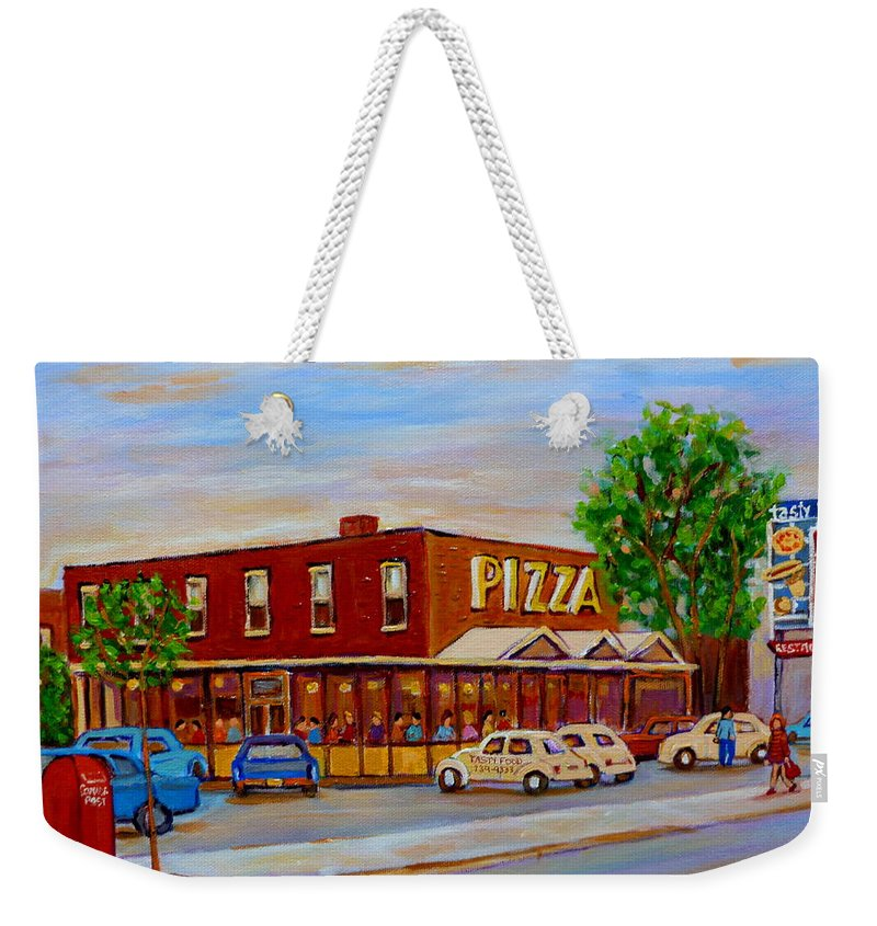 Tasty Food Pizza Weekender Tote Bag featuring the painting Decarie Tasty Food Pizza by Carole Spandau
