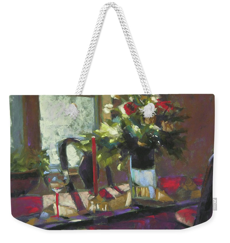 Christmas Weekender Tote Bag featuring the painting December Morning Light by Mary McInnis