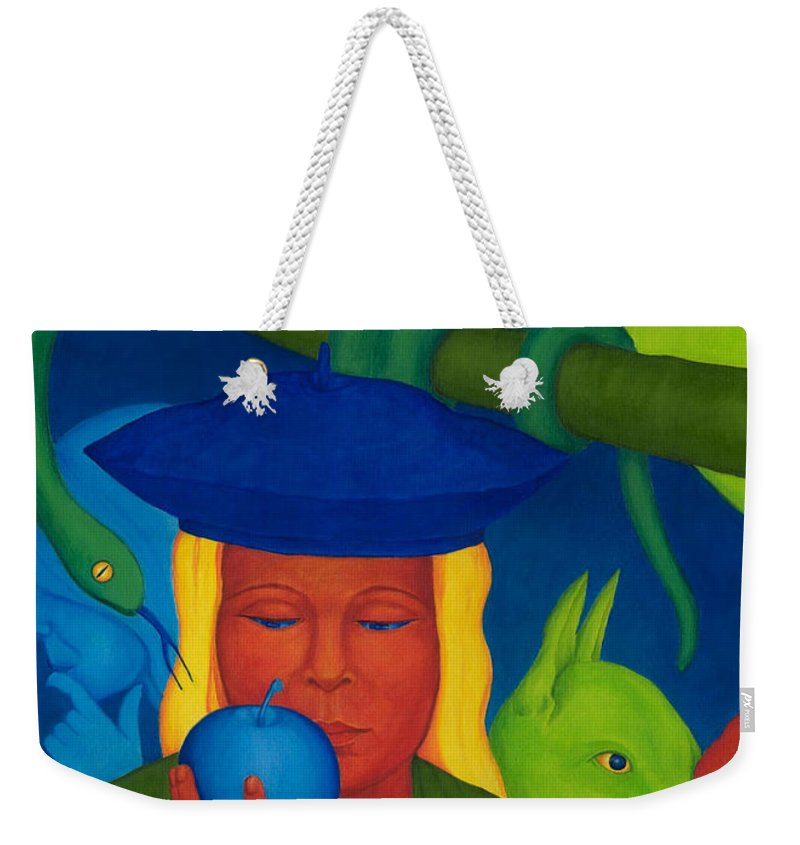Surreal Weekender Tote Bag featuring the painting Decision. by Andrzej Pietal