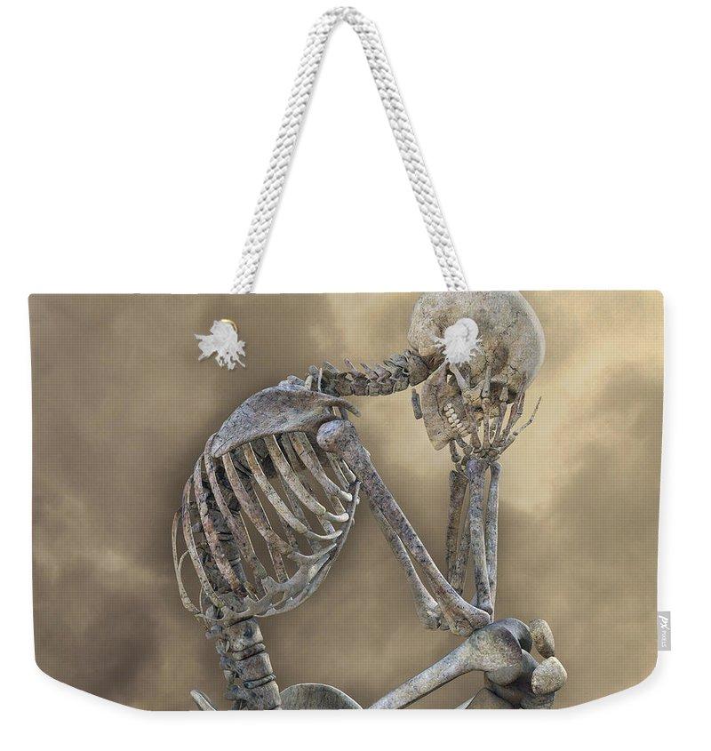 Skeleton Weekender Tote Bag featuring the digital art Decisions by Betsy Knapp