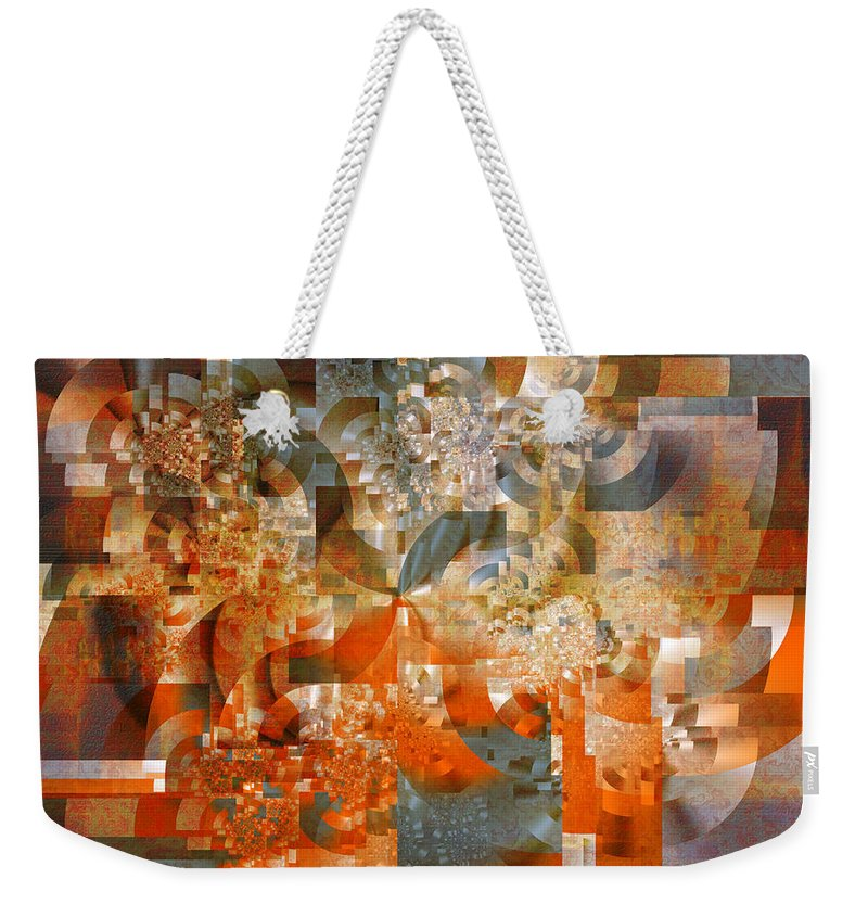 Fractal Weekender Tote Bag featuring the digital art Deco Bubbles by Richard Ortolano