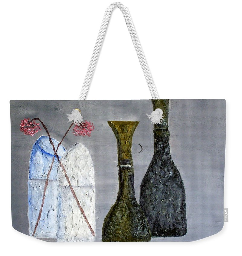 Still Life Paintings Weekender Tote Bag featuring the painting Decor Cut Bottles by Leslye Miller