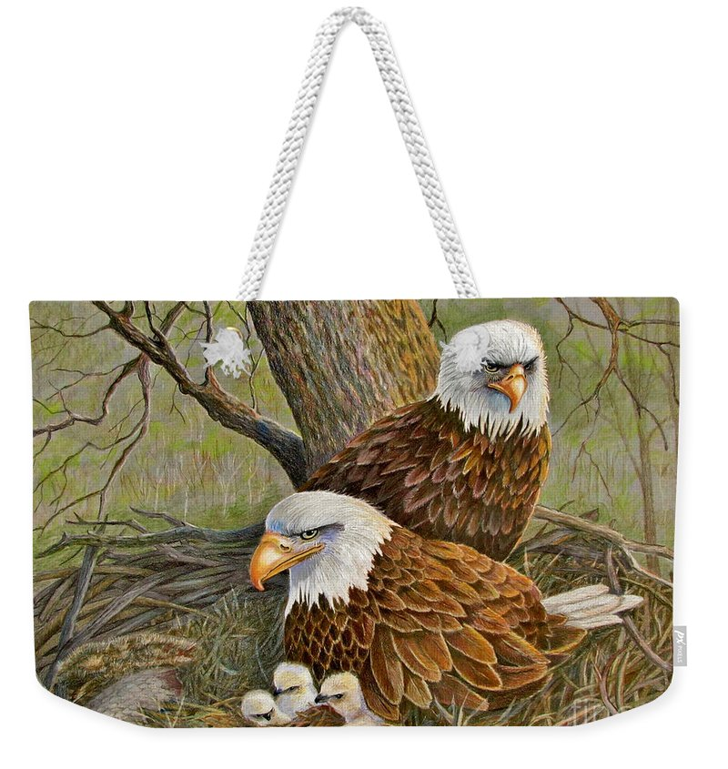 American Bald Eagles Weekender Tote Bag featuring the drawing Decorah Eagle Family by Marilyn Smith