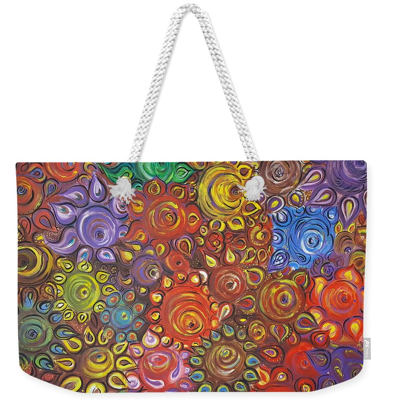 Flower Weekender Tote Bag featuring the painting Decorative Flowers by Rita Fetisov
