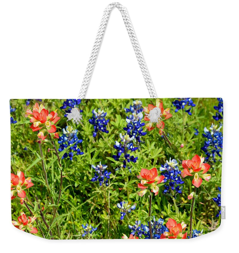 Photo Weekender Tote Bag featuring the photograph Decorative Texas Bluebonnets Meadow Digital Photo G33117 by Mas Art Studio