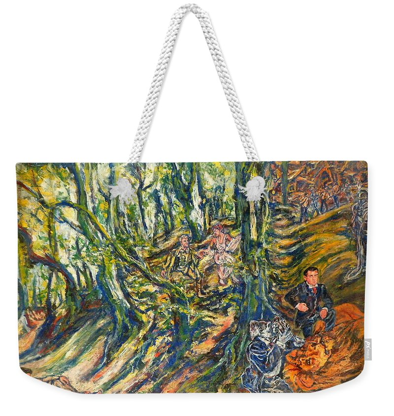 Lion Weekender Tote Bag featuring the painting Dedicated To The Memory Of Cecil The Lion by Rosanne Gartner