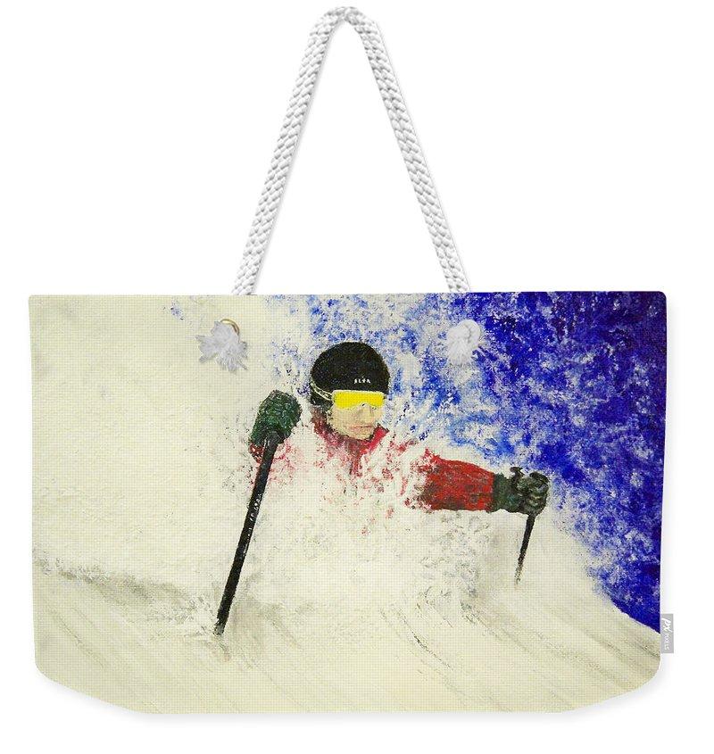 Utah Weekender Tote Bag featuring the painting Deeeep by Michael Cuozzo