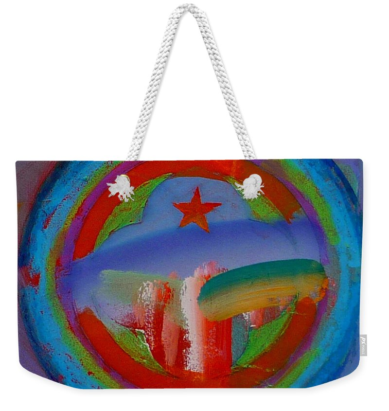 Logo Weekender Tote Bag featuring the painting Deep Blue Decal by Charles Stuart