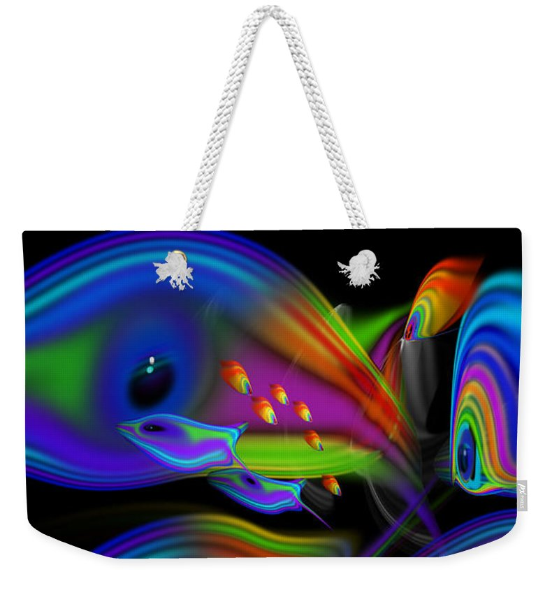 Tropical Fish Weekender Tote Bag featuring the painting Deep Blue Marine Life by Charles Stuart