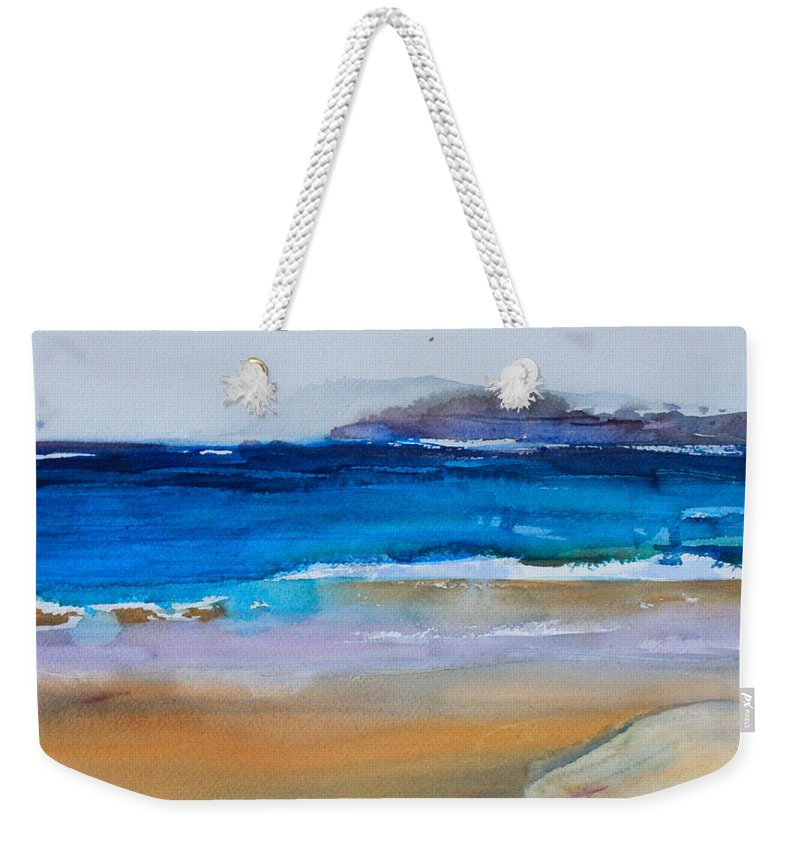 Deep Blue Sea Weekender Tote Bag featuring the painting Deep Blue Sea And Golden Sand by Ibolya Taligas