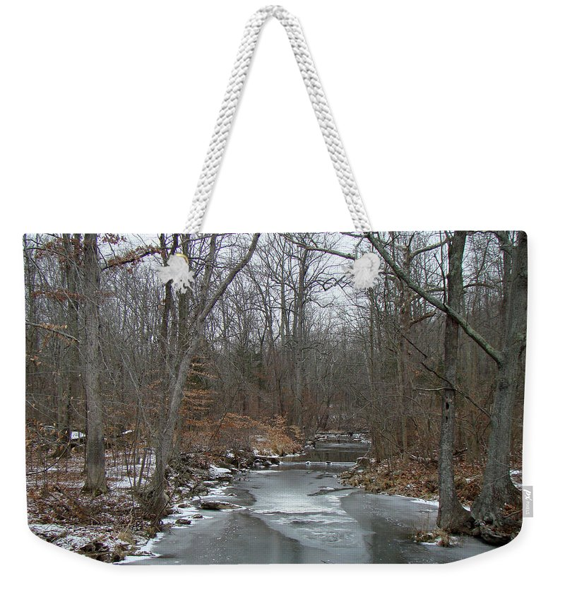 Ice Weekender Tote Bag featuring the photograph Deep Creek - Green Lane - Pa by Mother Nature