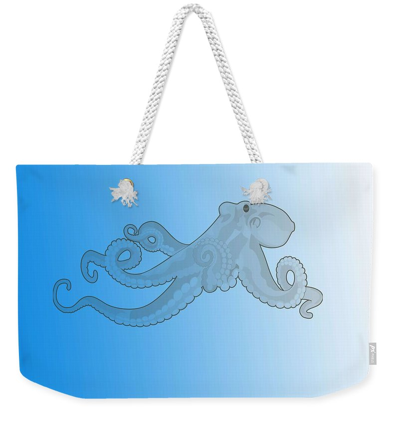 Octopus Weekender Tote Bag featuring the painting Deep Ocean Animals - Octopus 20 by Celestial Images