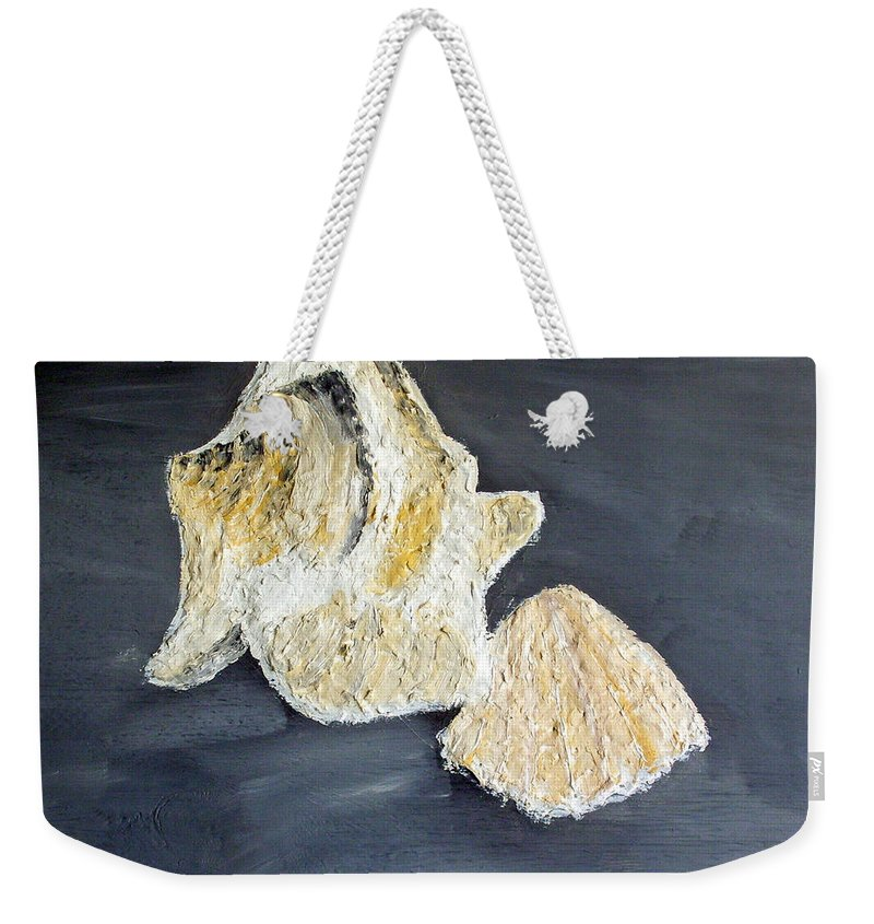 Still Life Paintings Weekender Tote Bag featuring the painting Deep Ocean Seashells by Leslye Miller