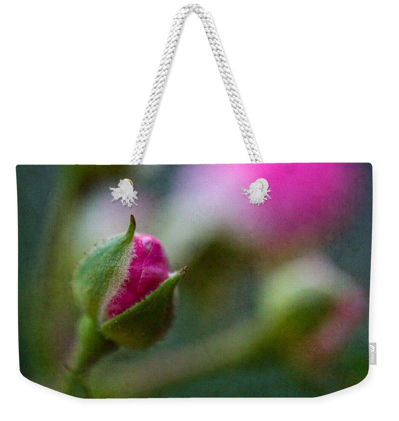 Rose Bud Weekender Tote Bag featuring the photograph Deep Pink Rose Bud - Rose Bud by Marie Jamieson