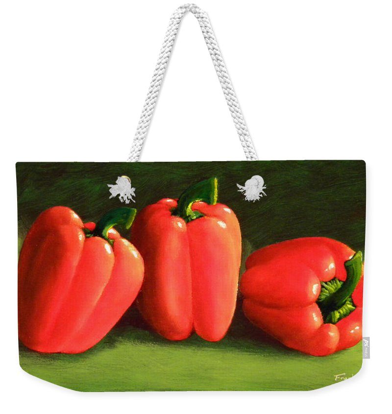 Peppers Weekender Tote Bag featuring the painting Deep Red Peppers by Frank Wilson
