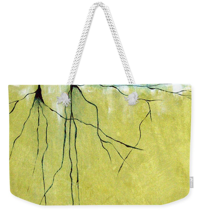 Abstract Weekender Tote Bag featuring the painting Deep Roots by Ruth Palmer