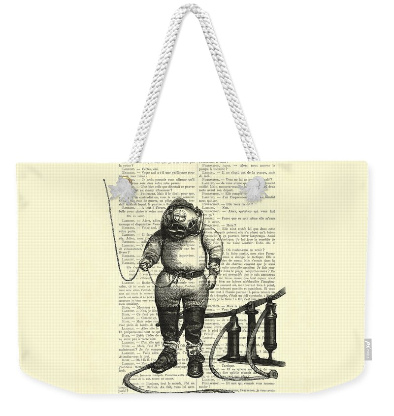Deep Sea Diver Weekender Tote Bag featuring the digital art Deep Sea Diver by Madame Memento