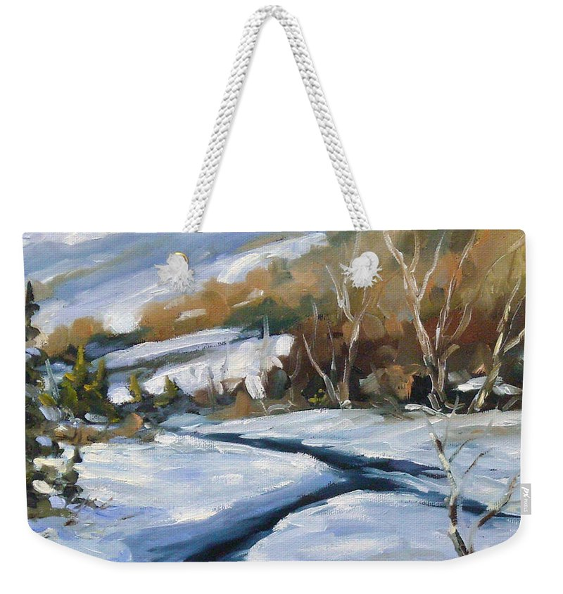 Art Weekender Tote Bag featuring the painting Deep Snow by Richard T Pranke