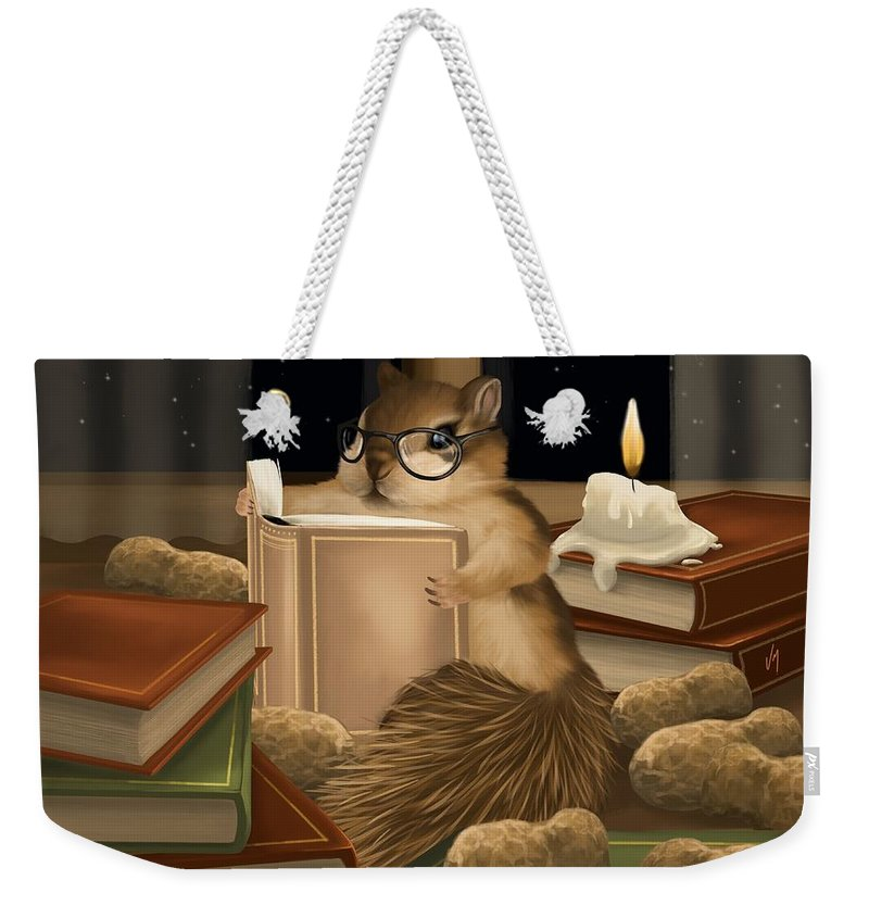 Squirrel Weekender Tote Bag featuring the painting Deep Study by Veronica Minozzi